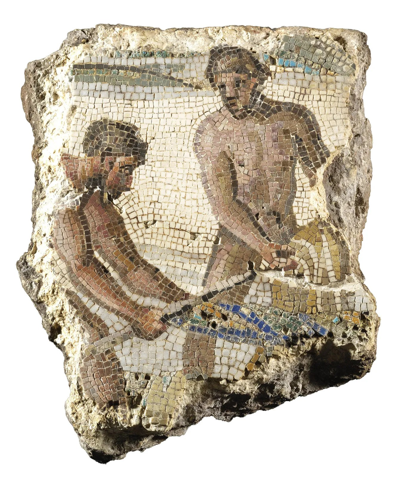 BELOW Polychrome mosaic showing fishermen at work, found in 1875 between the Via Labicana and Via Merulana in Rome. Late 1st / early 2nd century AD.