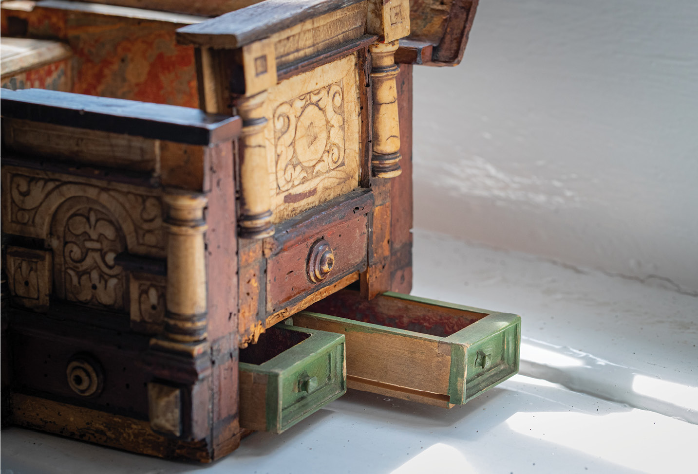 LEFT A recent collaboration with Southampton University revealed the presence of a previously unknown secret drawer in this 17th-century casket held by the Society.