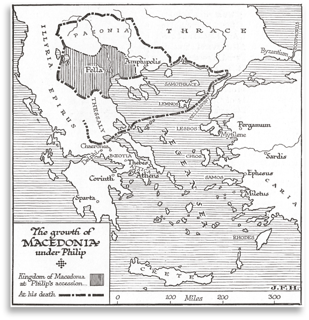 RIGHT Map showing the conquests of Philip of Macedon.