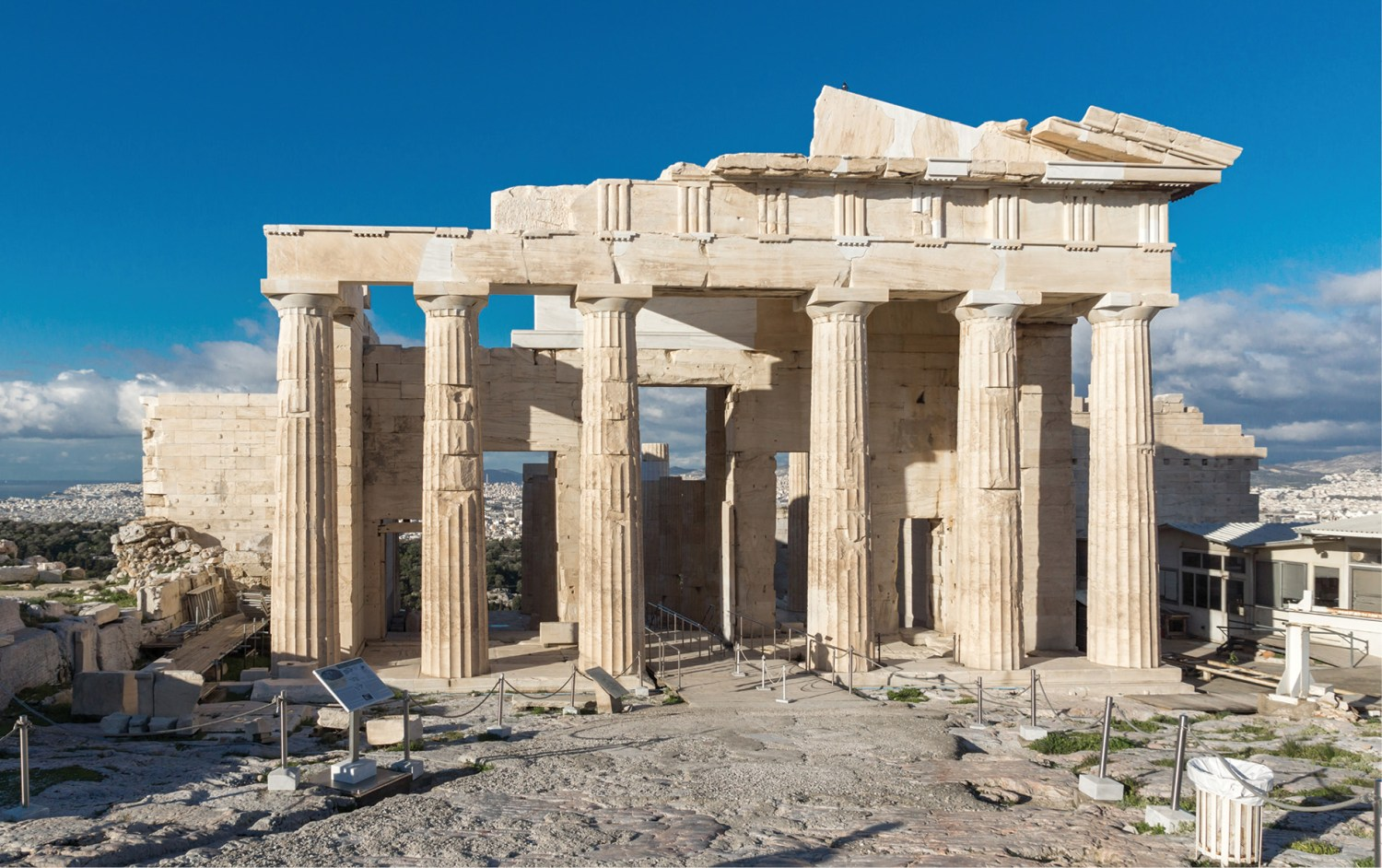 ABOVE The Propylaea, the monumental gateway to the Acropolis, was reoriented in the 5th century BC to face towards the island of Salamis.