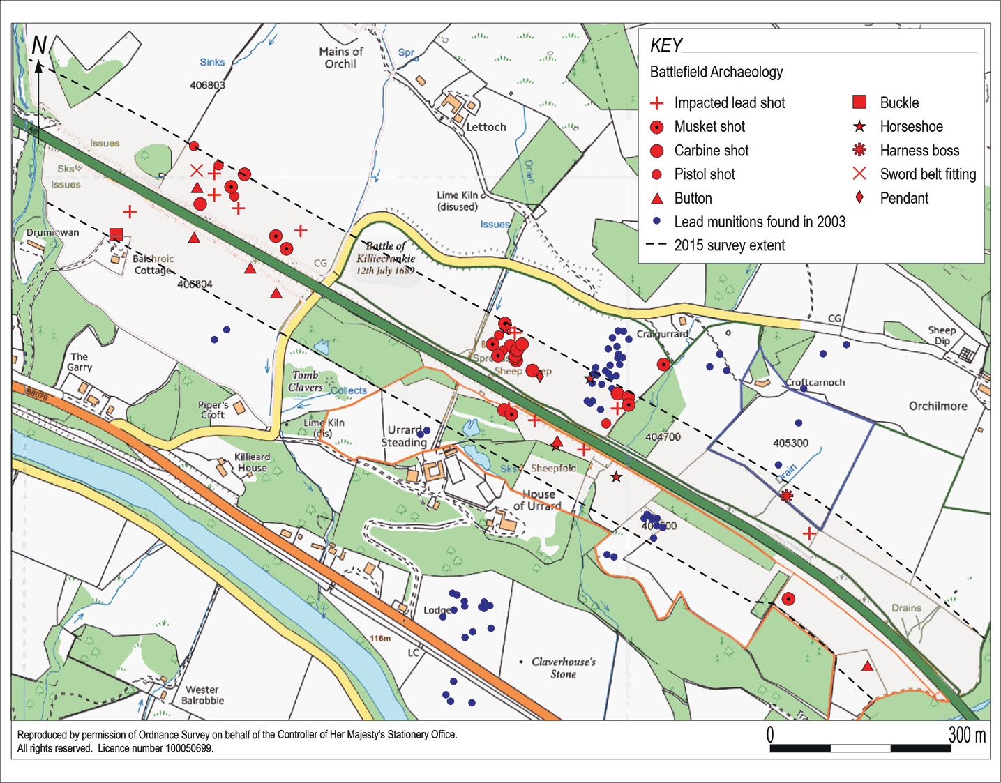 BELOW The distribution of finds recovered from Killiecrankie. Note the concentration in the vicinity of Urrard House.