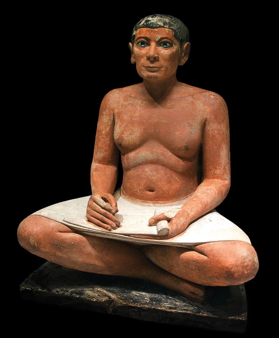 RIGHT The Seated Scribe, a 5th Dynasty (2450-2350 BC) painted limestone sculpture with eyes inlaid with crystal excavated by Mariette in Saqqara in 1850 and now in the Louvre.