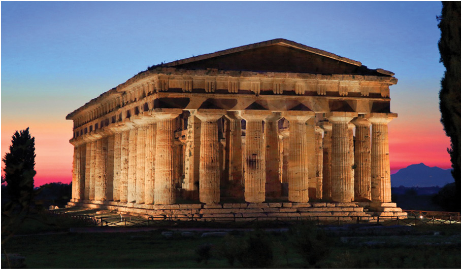 Childe argued that symbols of elite wealth and power like ancient Greek temples (ABOVE) are signs of a society at risk of becoming technologically stagnant, explaining why the developments that led to the Iron Age could not have occurred within the highly structured civilisations of the Late Bronze Age Mediterranean (RIGHT).