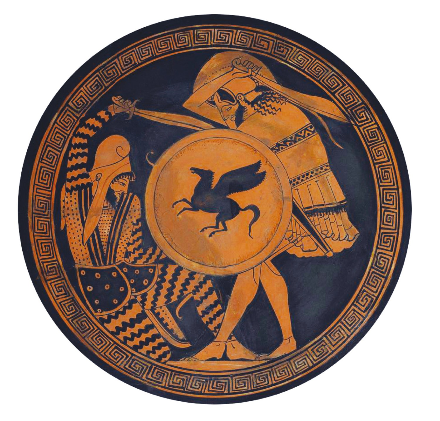 below A Greek hoplite and a Persian warrior depicted in hand-to-hand combat on a red-figure vase painting.