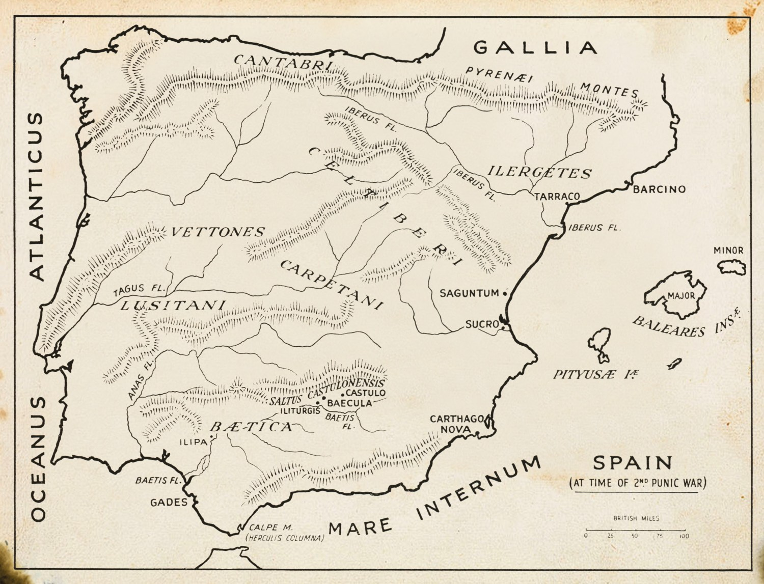 Opposite Scipio Africanus. The bust is Roman, but the portrait is not contemporary, so we cannot be certain it is a true likeness. BELOW Map of Spain during the Second Punic War showing the sites of major engagements.