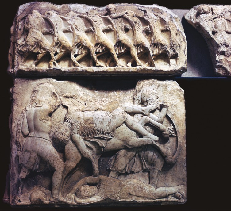 ABOVE & left This frieze of 5th-century Greek hoplites shows the inside of 'the hollow shield', and also the manner in which shields overlapped in the phalanx.