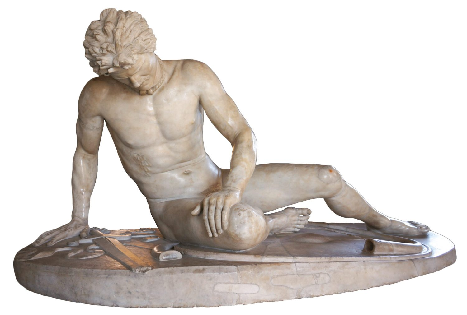 Below The Dying Gaul. This famous Hellenistic sculpture, believed to have belonged to Julius Caesar, depicts 'the noble savage' in the form of a fallen Celtic warrior, shown wearing torc, moustache, and lime-washed hair, with shield, trumpet, and broadsword on the ground.