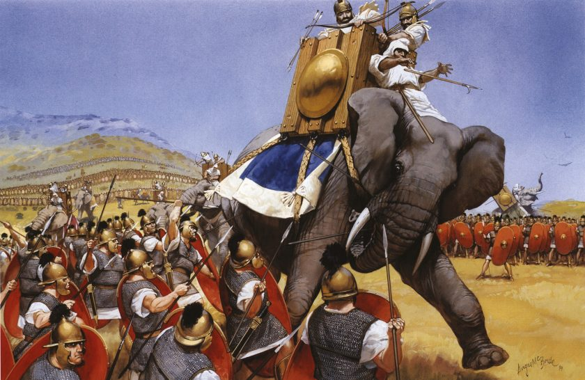 Below The elephant charge at Zama. The Roman heavy-infantry maniples are shown funnelling the elephants down the avenues. The three lines of Hannibal's infantry can be seen in the distance.