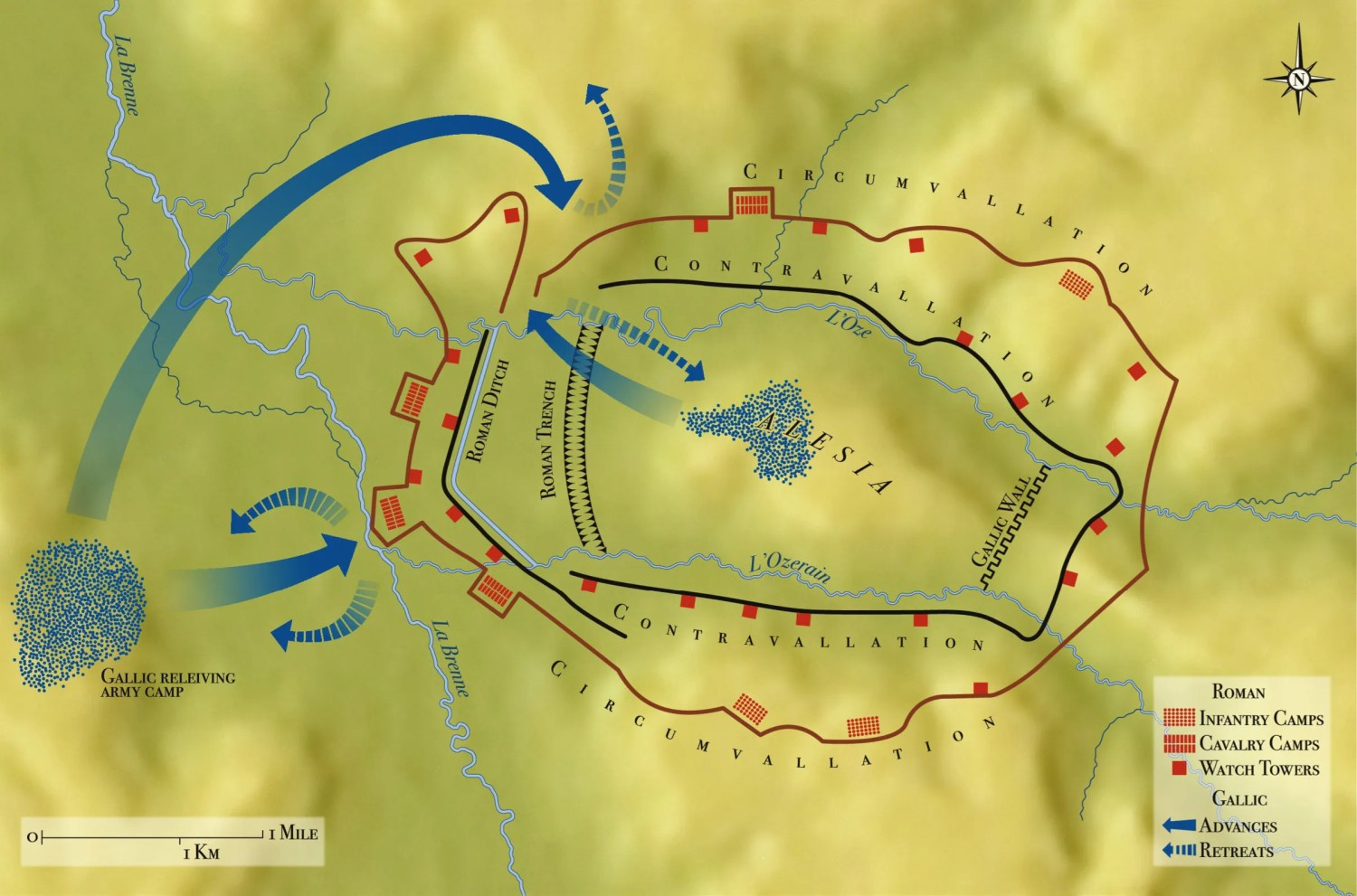 Above Plan of the Siege of Alesia, 52 BC, showing the principal Gaulish manoeuvres in the final battle.