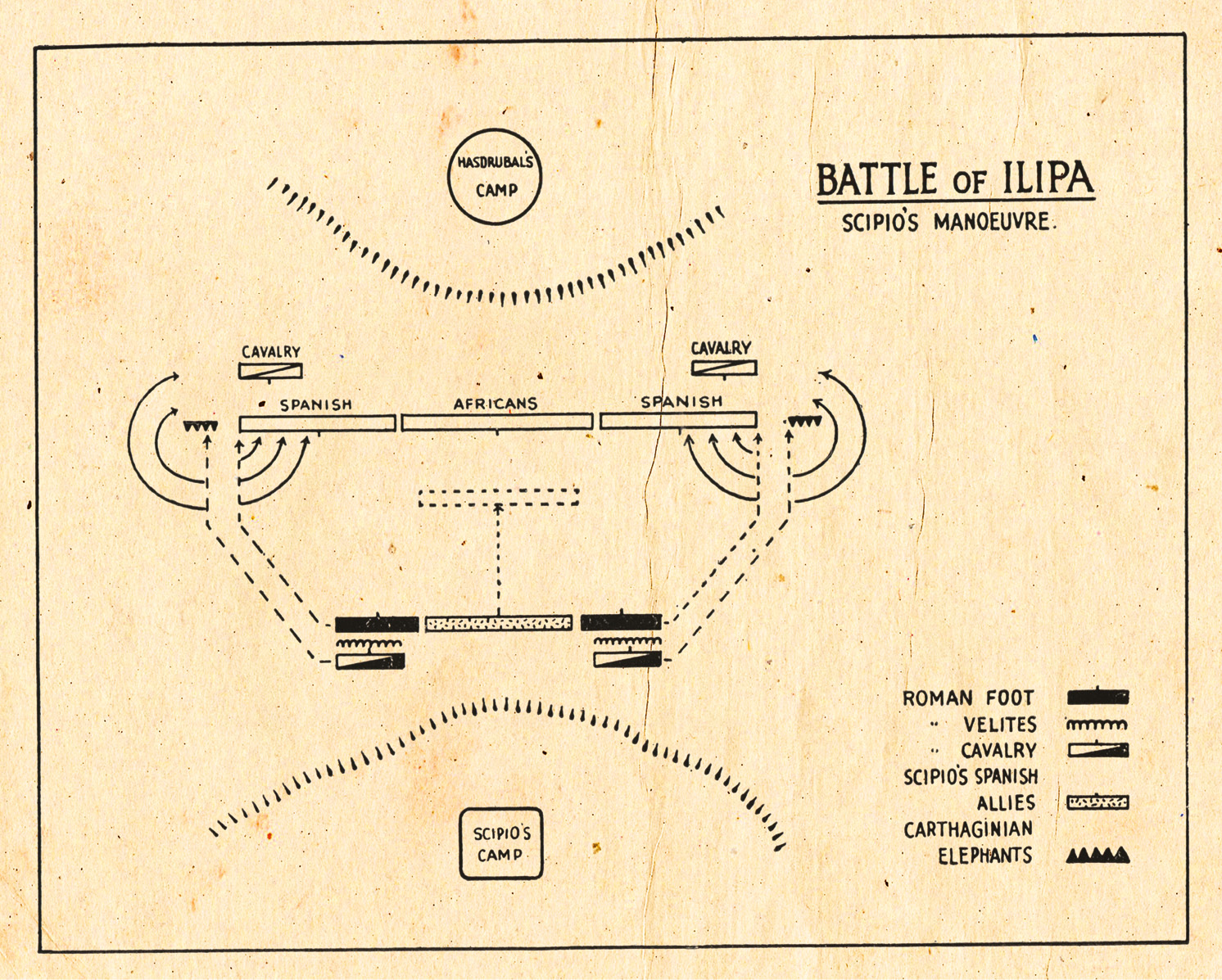 Above Plan of the Battle of Ilipa, 206 BC. BELOW Plan of Utica area showing the ambush of Hanno and the attack on the camps of Hasdrubal and Syphax, 203 BC.