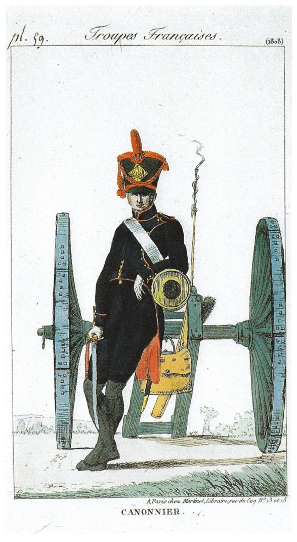 ABOVE Sketches of French forces from the period, including an infantryman (on the left), a dragoon (on the right), and an artilleryman (centre). At Corunna, Soult commanded at least three cavalry divisions, more than 20 artillery pieces, and about 13,000 infantrymen. They were well-trained but exhausted by their recent pursuit.