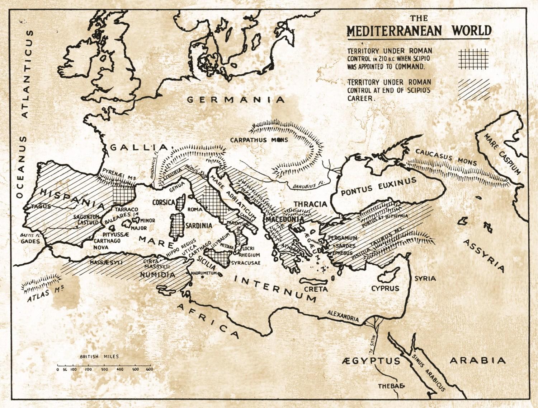 Above Map showing Roman imperial expansion under the Scipios. Publius Cornelius Scipio Africanus has the strongest claim to having been the true founder of the Roman Empire.