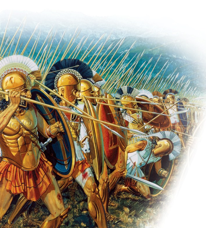 Below Peter Connolly's vivid reconstruction of a hoplite attack. Typically, a battle between opposing phalanxes would culminate in a protracted close-quarters stand-off across a few yards of contested ground by opposing formations of similar type.