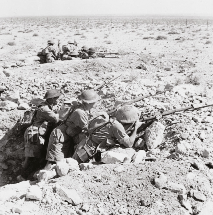 Australians in foxholes on the Tobruk perimeter [below LEFT] and British Matilda tanks on the move nearby [below RIGHT]. The ding-dong desert war was finally ended by Montgomery's victory at El Alamein in November 1942. But he was just the lucky one the right man at the right moment for all he did was to act on the plan of his sacked predecessor.