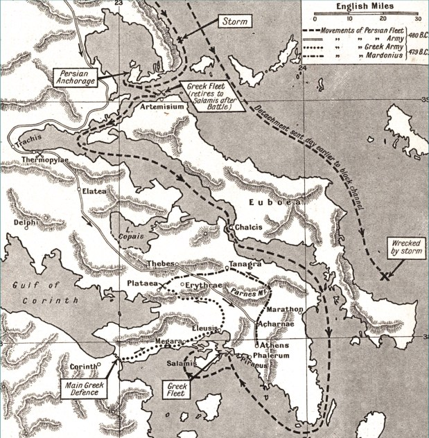 Below The main movements of the armies and the major battles of the Second Persian War, 480-479 BC.