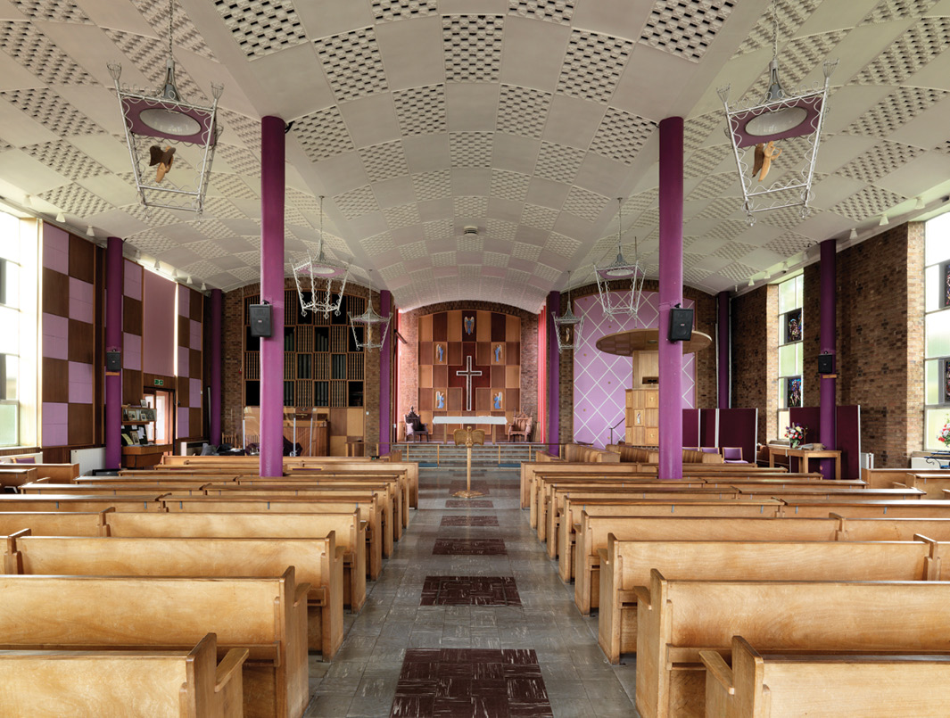 above Inside the nave of Christ Church in Cheylesmore, built in the 'Festival Style' between 1956 and 1958.