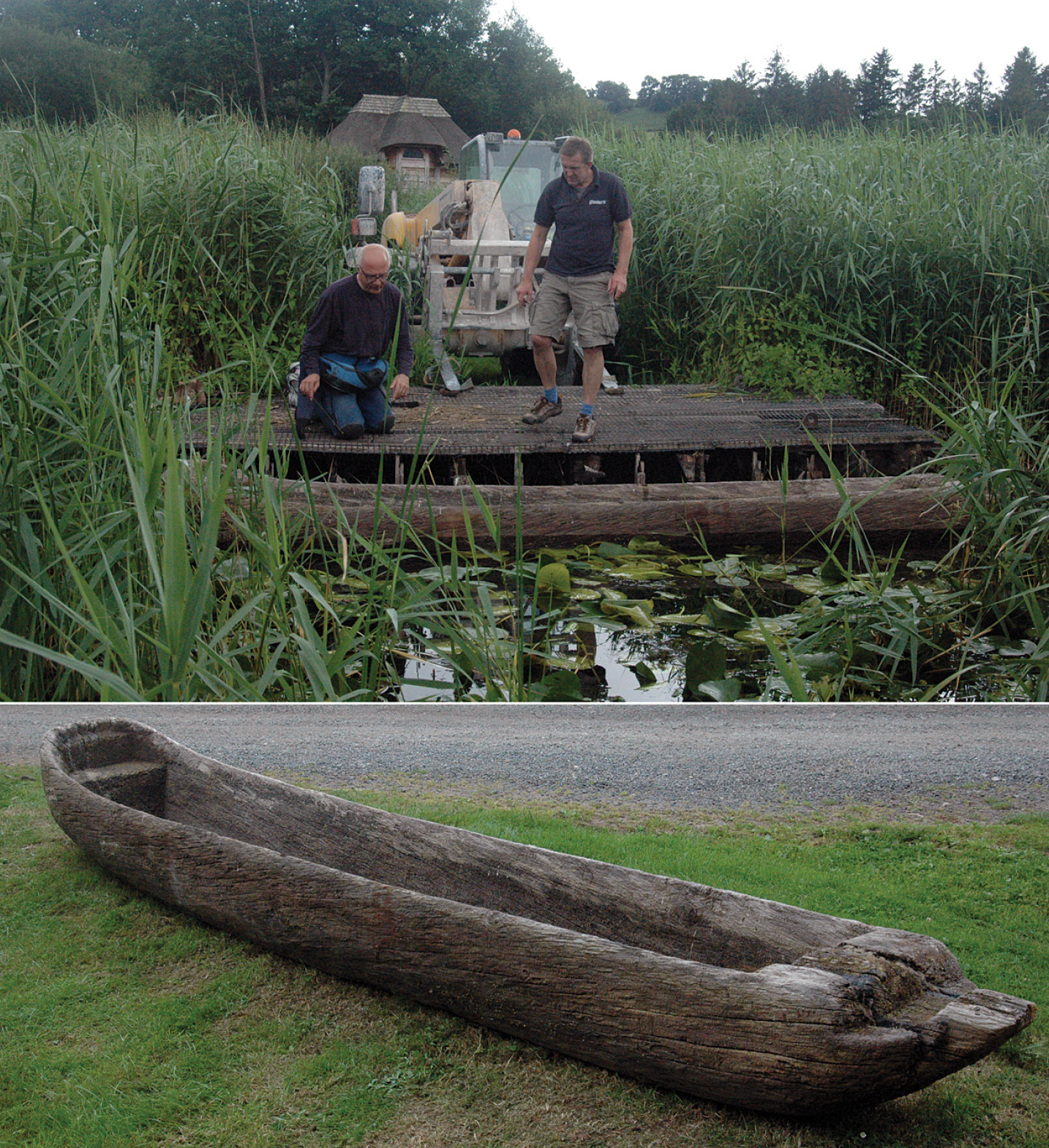 left The 1993 Time Team boat being inspected and relaunched in 2016, after having been dried and caulked. The thatched visitor centre can be seen in the background. below The Clapton logboat (a replica of a late Saxon logboat found in the River Lea in London in 1987) undergoing performance trials on Llangorse Lake in 1990.