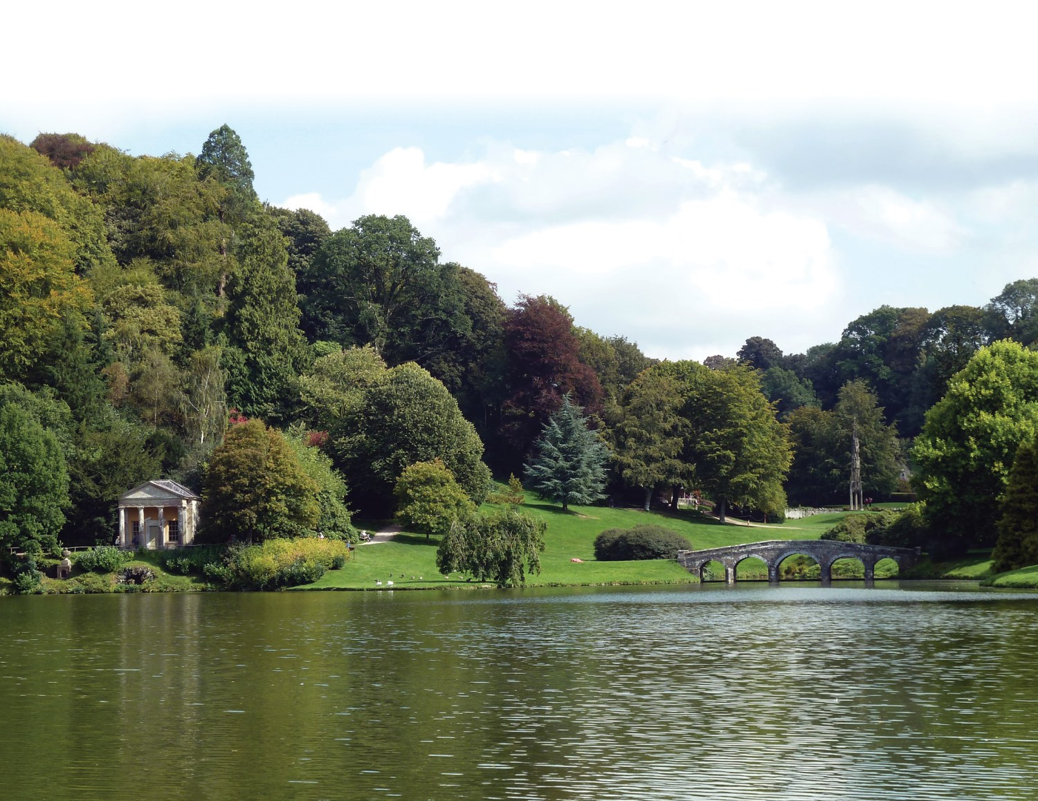 below The Temple of Flora and the Palladian Bridge at Stourhead, illustrating the influence of Italy and the Grand Tour and of the idealised landscapes of paintings by Claude Lorrain and his followers on the design of lakes in the 18th century.