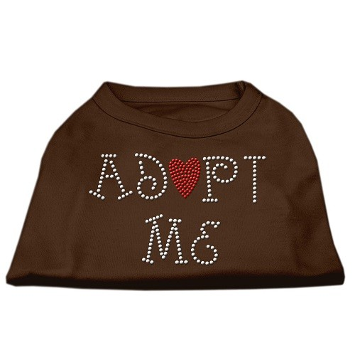 Adopt Me Rhinestone Dog Shirt - Brown | The Pet Boutique