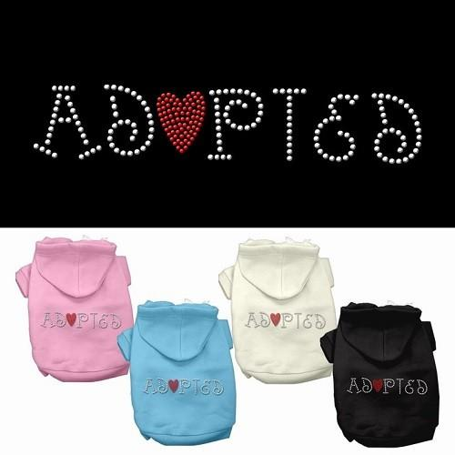 Adopted Rhinestone Dog Hoodie | The Pet Boutique