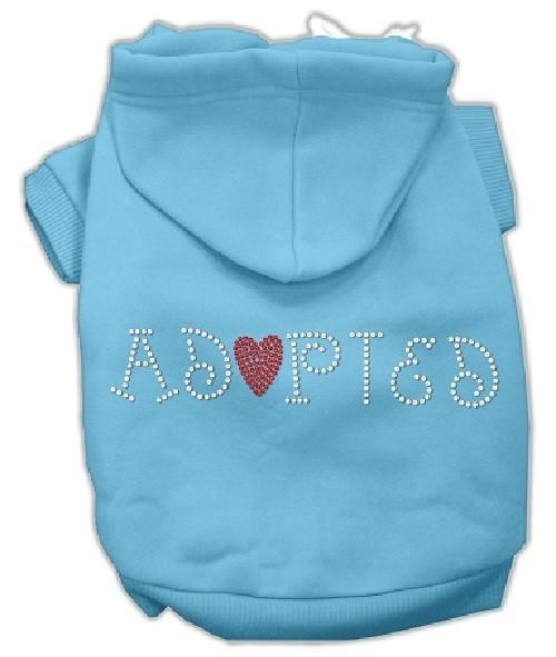 Adopted Rhinestone Dog Hoodie - Baby Blue | The Pet Boutique