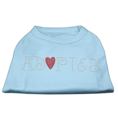 Adopted Rhinestone Dog Shirt - Baby Blue | The Pet Boutique