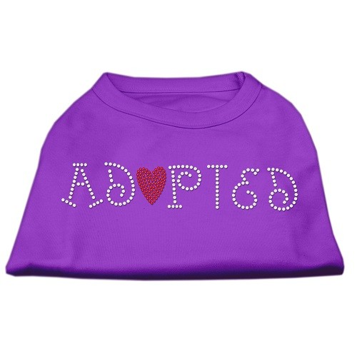 Adopted Rhinestone Dog Shirt - Purple | The Pet Boutique