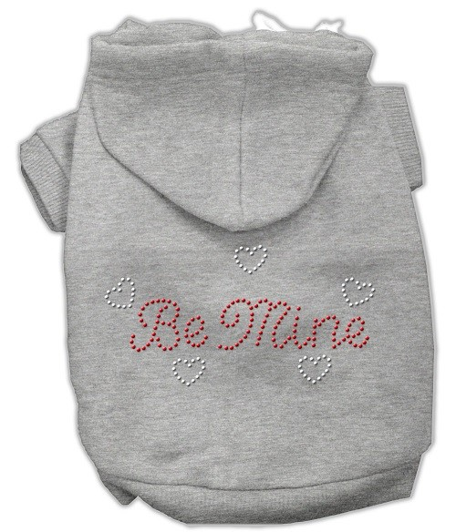 Be Mine Rhinestone Dog Hoodie - Grey | The Pet Boutique
