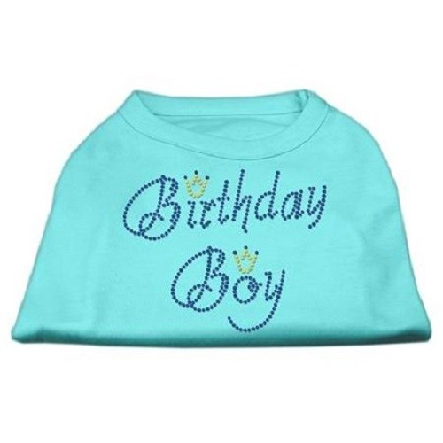 Birthday Boy Rhinestone Dog Shirt - Aqua | The Pet Boutique