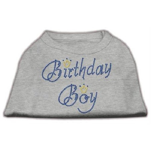 Birthday Boy Rhinestone Dog Shirt - Grey | The Pet Boutique