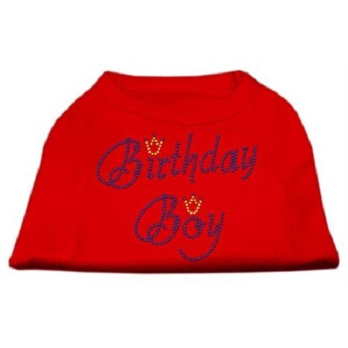 Birthday Boy Rhinestone Dog Shirt - Red | The Pet Boutique