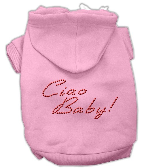 Ciao Baby Rhinestone Dog Hoodie - Pink | The Pet Boutique