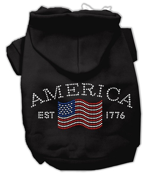 Classic American Rhinestone Dog Hoodie - Black | The Pet Boutique