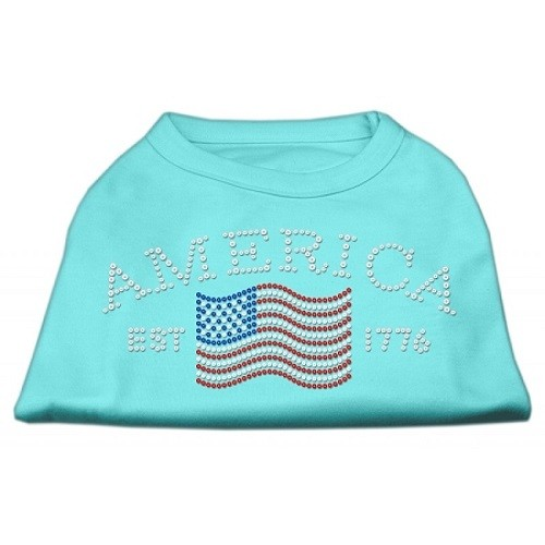 Classic American Rhinestone Dog Shirt - Aqua | The Pet Boutique