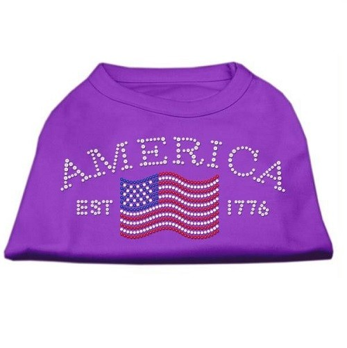 Classic American Rhinestone Dog Shirt - Purple | The Pet Boutique