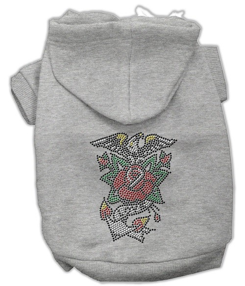 Eagle Rose Nailhead Rhinestone Dog Hoodie - Grey | The Pet Boutique