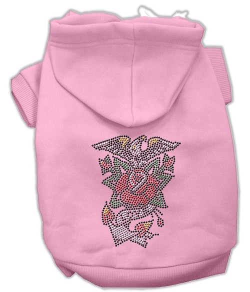 Eagle Rose Nailhead Rhinestone Dog Hoodie - Pink | The Pet Boutique
