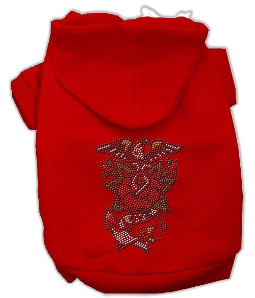 Eagle Rose Nailhead Rhinestone Dog Hoodie - Red | The Pet Boutique