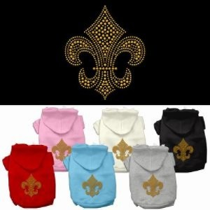 Gold Fleur De Lis Rhinestone Dog Hoodie | The Pet Boutique