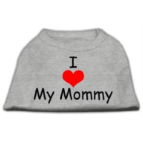 I Love My Mommy Screen Print Dog Shirt - Grey | The Pet Boutique