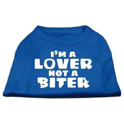 I'm a Lover not a Biter Screen Printed Dog Shirt - Blue | The Pet Boutique