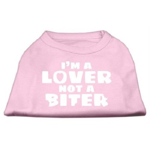 I'm a Lover not a Biter Screen Printed Dog Shirt - Light Pink | The Pet Boutique