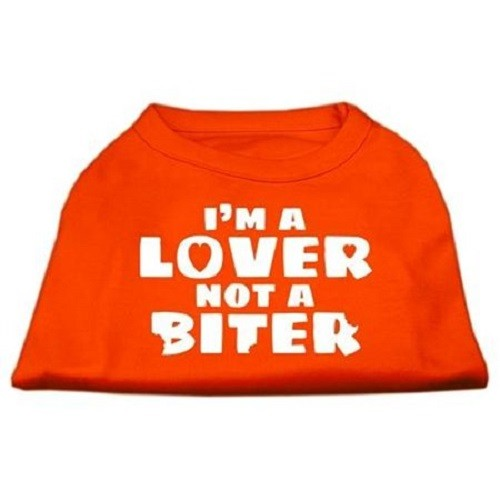 I'm a Lover not a Biter Screen Printed Dog Shirt - Orange | The Pet Boutique