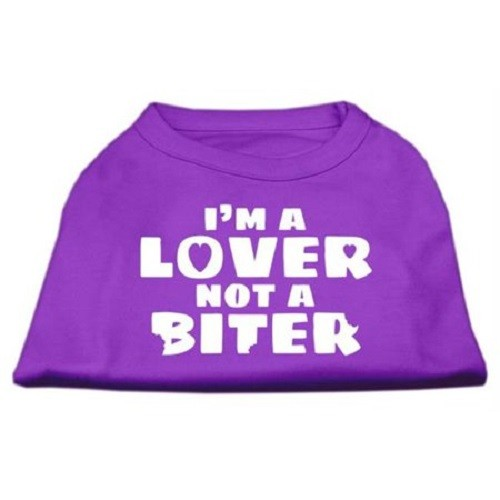 I'm a Lover not a Biter Screen Printed Dog Shirt - Purple | The Pet Boutique