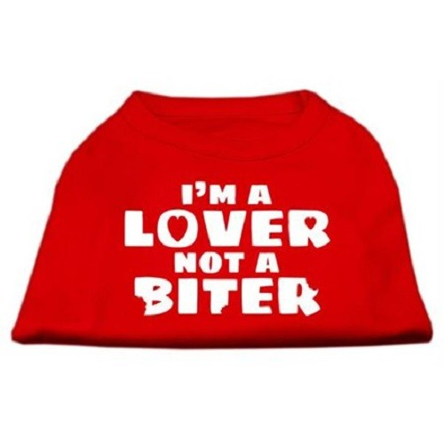 I'm a Lover not a Biter Screen Printed Dog Shirt - Red | The Pet Boutique