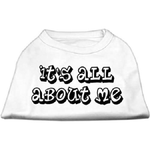 It's All About Me Screen Print Dog Shirt - White | The Pet Boutique