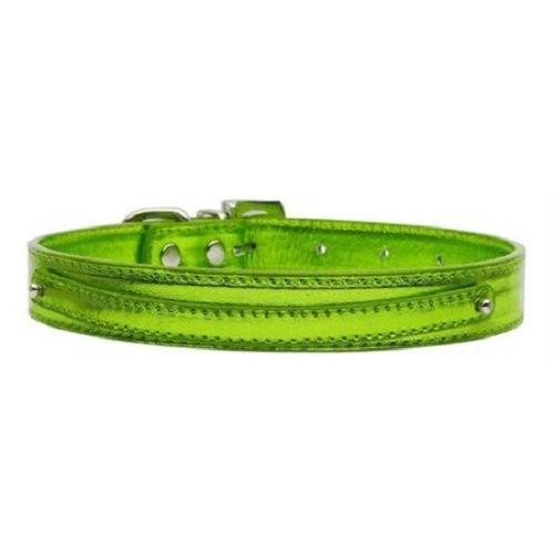 Metallic Two Tier Dog Collar - Lime Green | The Pet Boutique