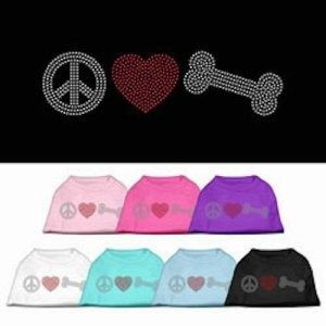 Peace Love and Bone Rhinestone Dog Shirt | The Pet Boutique