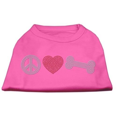 Peace Love and Bone Rhinestone Dog Shirt - Bright Pink   The Pet Boutique