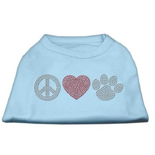 Peace Love and Paw Rhinestone Dog Tank Top - Baby Blue   The Pet Boutique